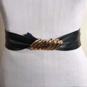 Vintage Black Faux Leather with Gold Clasp Belt